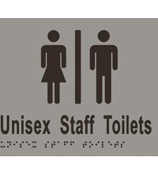 Unisex Staff Toilets Divided - Braille